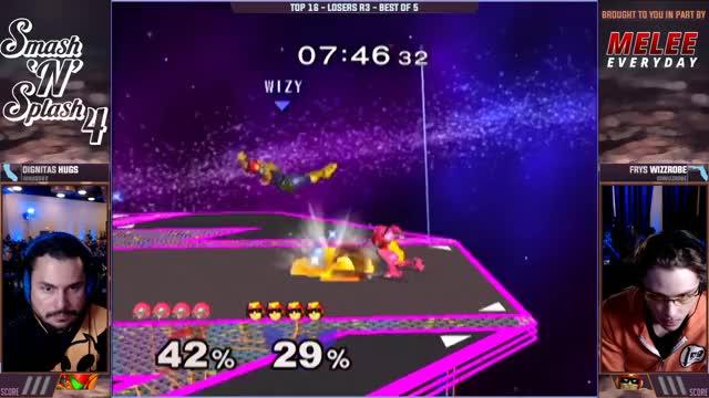 Watch Smash'N'Splash 4 TOP 16 LOSERS - DIGNITAS | HugS (Samus) vs Frys | Wizzrobe (Captain Falcon) GIF on Gfycat. Discover more chicago, competitive, gaming, illinois, melee, nintendo, smash, ssbm, super smash bros, tournaments GIFs on Gfycat