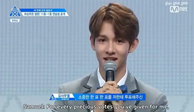 [ENG] Rank 5th Kim Samuel Speech EP10 Produce101 S2 GIFs