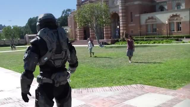 Watch Spartan frisbee  GIF by maggruber on Gfycat. Discover more 360, Campus, College, Halo, Spartan, free, on, reach, xbox GIFs on Gfycat