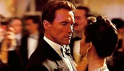 *TRUELIES, Arnold Schwarzenegger, Harry Tasker, James Cameron, Juno Skinner, Tango, Tia Carrere, True Lies, dance, film, gif, my stuff, ParchedWhichClam GIFs