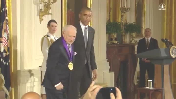 reversegif, President Obama confiscates medal from mel brooks following inappropriate behavior. (reddit) GIFs