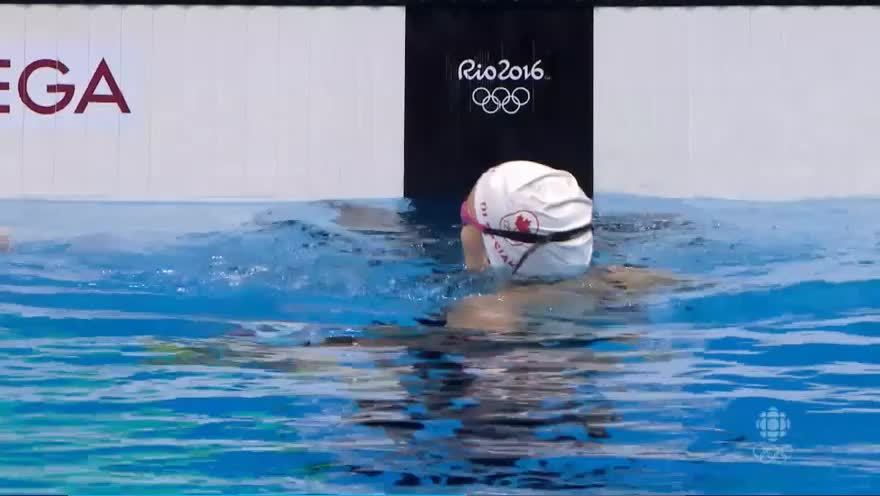 canada, gifs, olymgifs, Penny Oleksiak clinches gold for Canada in Women's 100m freestyle! Jumps into the record books! (reddit) GIFs
