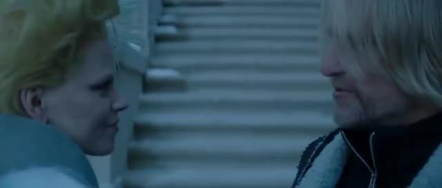 "Watch and share Mockingjay Part 2: ""Haymitch & Effie Kiss"" Scene GIFs on Gfycat"
