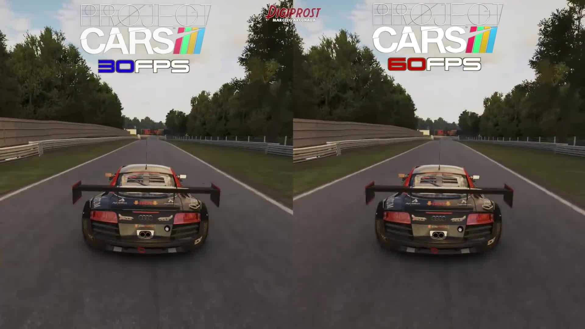 30FPS Vs 60FPS - Project CARS Audi R8 Ultra @ Brands Hatch