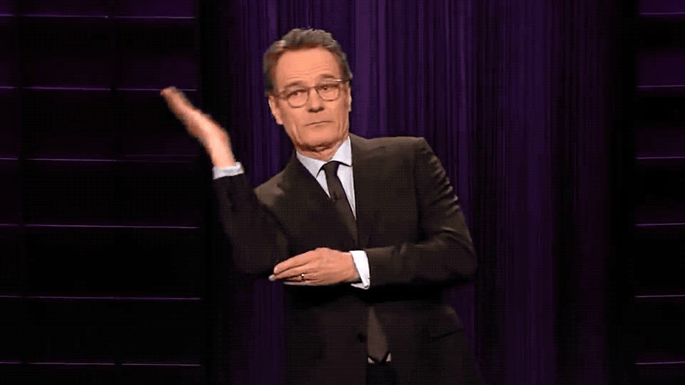 bonner, bryan, bryan cranston, celebrities, celebrity, celebs, corden, cranston, down, fall, james, late, much, night, rescue, rise, show, this, up, Bryan Cranston to James Corden's rescue! GIFs