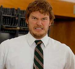 Chris Pratt, andy dwyer, angry, crazy, parks and rec, Angry Andy GIFs