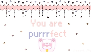 adorable, cat, cat pixel, cute, cute pixel, cute pixel text, hearts, kawaii, kawaii pixel, kawaii pixel text, kawaii text, kitten, kitty, love, meow, mine, pink, pixel, pixel text, positive, purple, purr, You are purrfect darling~ GIFs