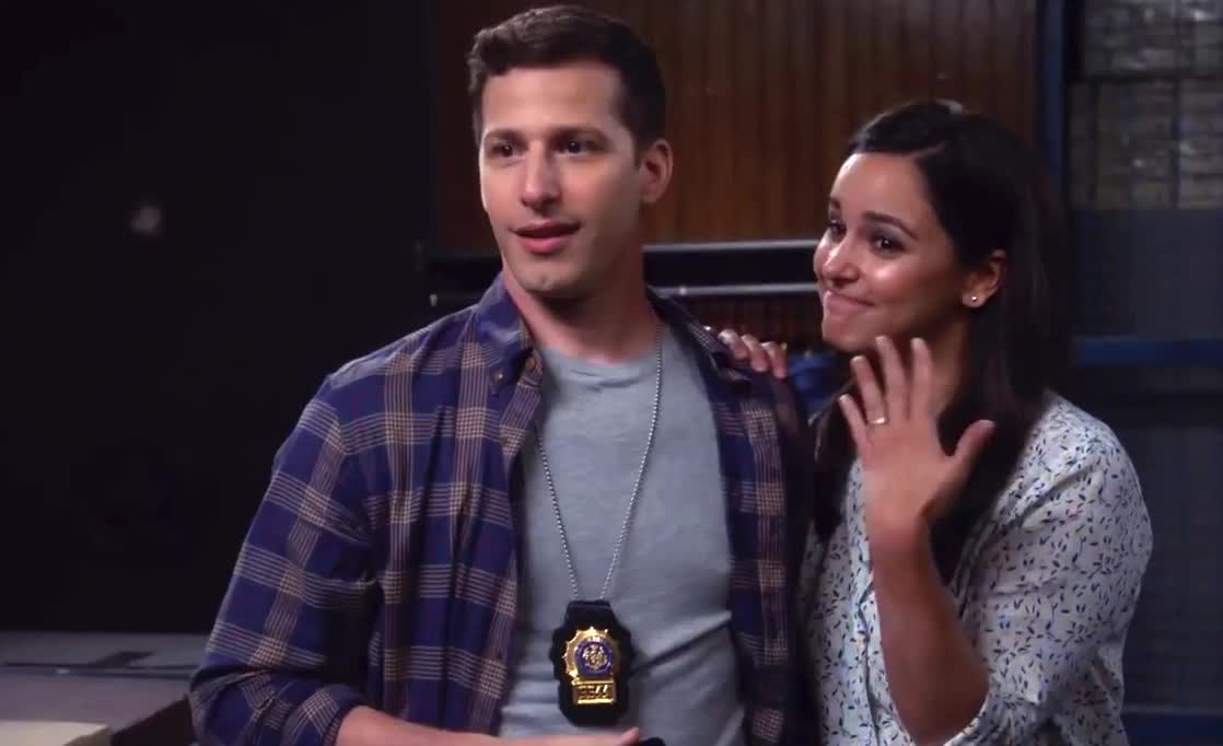 99, amy, andy samberg, brooklyn, brooklyn 99, brooklyn nine nine, do, engaged, happy, i, jake, melissa fumero, nine, propose, ring, smile, wedding, yes, Jake Proposes To Amy | BROOKLYN NINE-NINE GIFs