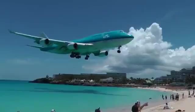 Watch and share St. Maarten KLM Boeing 747 Landing (1080p) GIFs on Gfycat