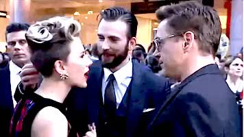 Watch wallofdamn GIF on Gfycat. Discover more Robert Downey Jr, Scarlett Johansson, aou premiere, aou press tour, avengers cast, avengers premiere, chris evans, marvel cast, mcu cast, my gifs, rdj GIFs on Gfycat