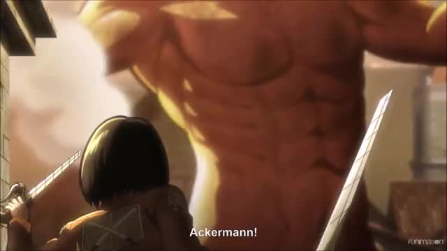 Mikasa dodges another attack from Eren  Attack on Titan Ep 1