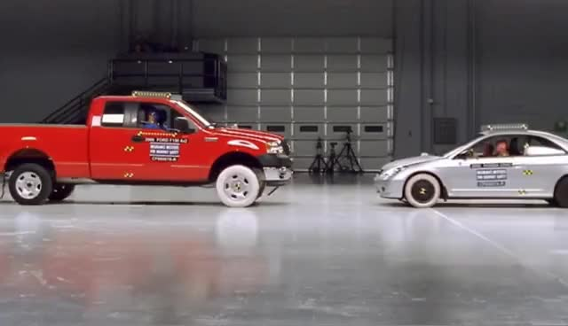 Watch and share Ford F150 And Honda Civic Frontal Crash Test By IIHS GIFs on Gfycat