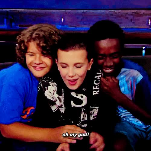 Watch and share Millie Bobby Brown GIFs and Caleb Mclaughlin GIFs on Gfycat