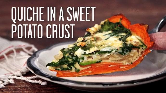 gifrecipes, Spinach and Feta Quiche in Sweet Potato Crust (reddit) GIFs
