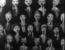 Watch and share Scary Gif Creepy Horror Dark Smiling Crowd Clapping Childrens GIFs on Gfycat