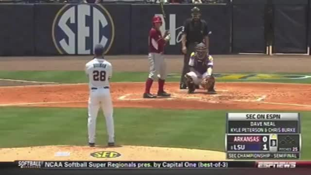 Watch and share Ibarra Heads Ball To Bregman For An Out - LSU Vs. Arkansas Baseball GIFs by solateor on Gfycat
