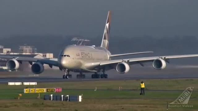 Watch and share Etihad Airways A380 Takeoff GIFs on Gfycat