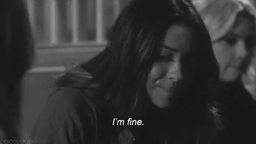 Watch this fine GIF on Gfycat. Discover more b&w, black and white, depressing quotes, depressive, fine, im fine, lie, life, not okay, quotes GIFs on Gfycat