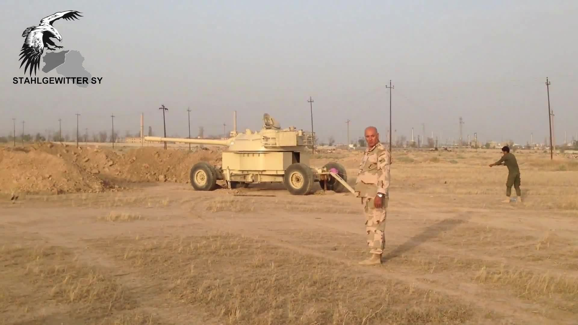 MilitaryGfys, shittytechnicals, The Turret of a T-55 is used without the tank chassis as an Artillery piece (Iraqi Badr Forces) GIFs