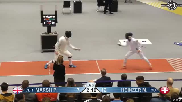 Watch MARSH P 7 GIF by Scott Dubinsky (@fencingdatabase) on Gfycat. Discover more gender: male, leftname: MARSH P, leftscore: 7, rightname: HEINZER M, rightscore: 13, time: 00011816, touch: right, tournament: heidenheim2019, weapon: epee GIFs on Gfycat