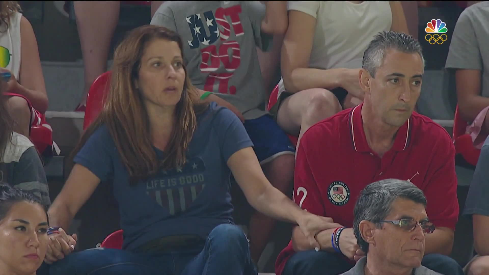 nbc sports, olymgifs, olympics, Aly Raisman's squirmy parents are at it again GIFs