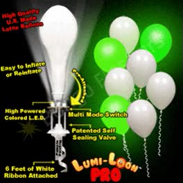 LUMI-LOONS White Ballons with Pro-line Green Lights