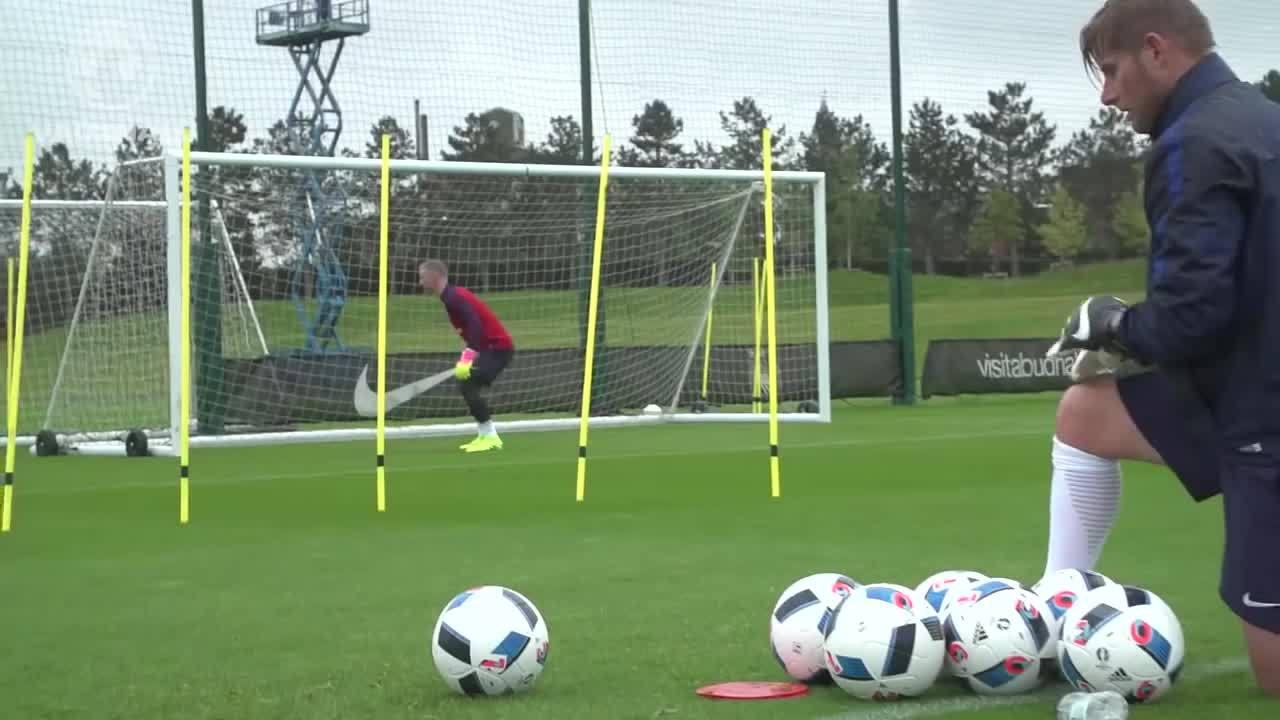football, soccer, threelions, World class GK reactions from Hart, Forster & Heaton (England Goalkeepers) | Inside Training GIFs