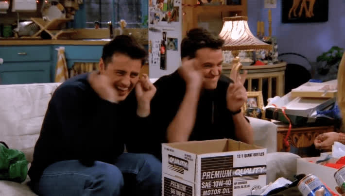 chandler, christmas, friends, gift giving, gifts, joey, opening gifts, opening presents, presents, Joey and Chandler Giving Christmas Gifts GIFs