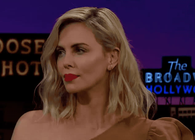 agree, aha, bored, charlize, corden, i, james, late, mean, night, see, show, sleepy, sure, theron, what, yap, yeah, yes, you, Charlize Theron - Yes GIFs