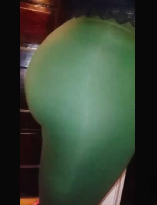 GIF Hunter Green Leggings On/Off Aqua Blue Thong