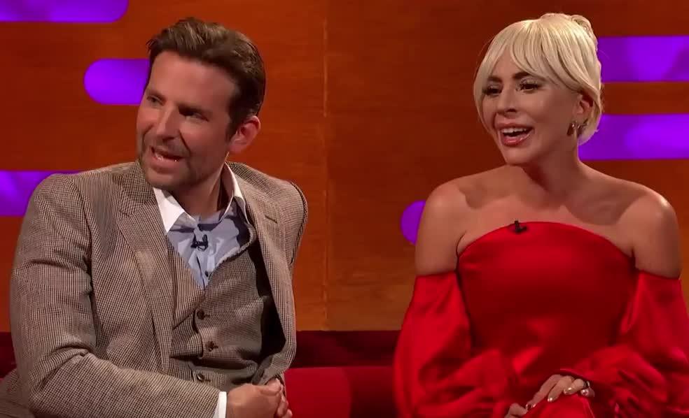 a, born, bradley, cooper, funny, gaga, graham, ha, ha ha, hilarious, is, lady, laugh, lol, loud, norton, out, show, star, the, Lady Gaga and Bradley Cooper | The Graham Norton Show GIFs