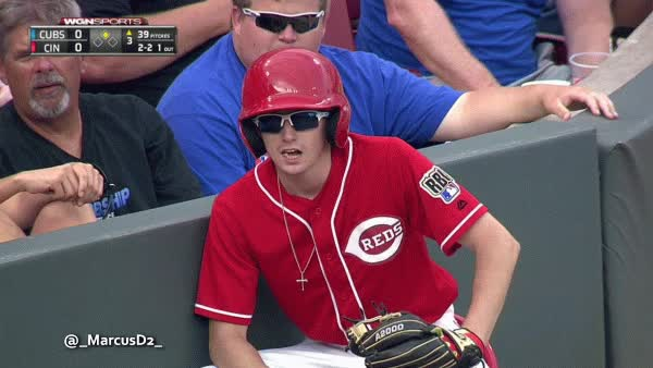 Watch and share Cincinnati Reds Bat Boy Must Be His Dad Behind Him GIFs by MarcusD on Gfycat