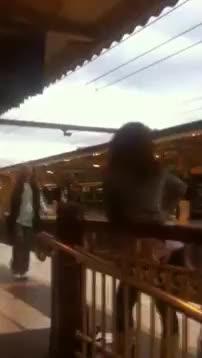 Watch and share Two Women Fighting Above Train Tracks Nononono GIFs on Gfycat