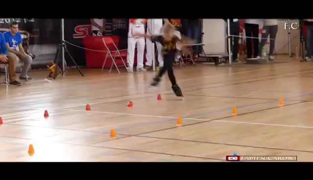 """Watch Fantastic little girl!! Rollerblade  Freestyle Slalom  World Championship Paris 2016 (""""dancing"""") GIF on Gfycat. Discover more related GIFs on Gfycat"""