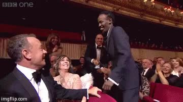 Watch and share Tom Hanks' Reaction To Barkhad Abdi Winning Best Supporting Actor - BAFTAs - 16thFebruary 2014 GIFs on Gfycat
