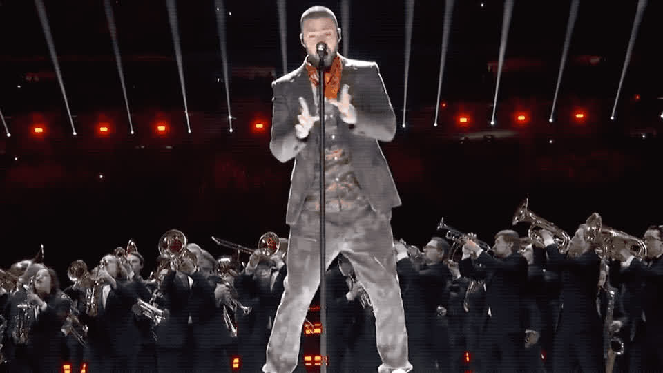 bowl, celebrate, dance, dancing, excited, halftime, justin, justin timberlake, lii, live, microphone, party, pepsi, perform, super, super bowl, timberlake, Justin Timberlake - Pepsi - Super bowl lii GIFs
