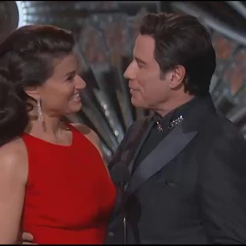 cringepics, trollxchromosomes, John Travolta not letting go of Idina Menzel's face [gif] (reddit) GIFs
