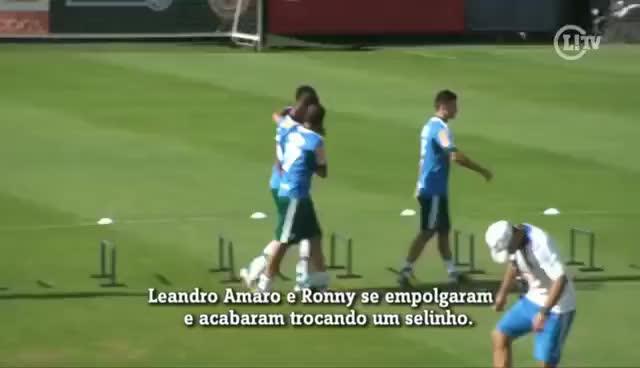 Watch and share Jogadores Do Palmeiras Trocam Selinho Em Treino GIFs on Gfycat