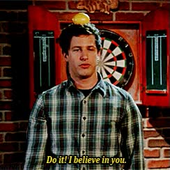 Watch this andy samberg GIF by GIF Master Blaster (@xitenik) on Gfycat. Discover more andy samberg, dart, darts, do it, i believe in you, just do it, you can do it, you got this GIFs on Gfycat