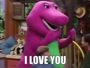 I LOVE YOU, barney, classic, hug, love, Barney I Love You Song GIFs