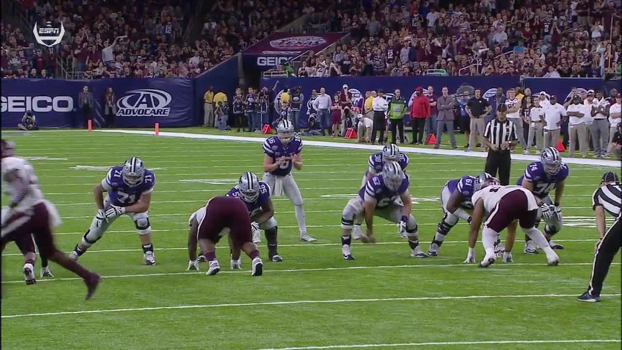 Dimel, Ertz, K-State, Kansas State, Texas A&M, crushes, football, K-State v. Texas A&M Goal line touchdown QB draw fullback Dimel destroys A&M defender  Kansas State GIFs