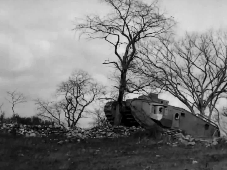 Tank, WW1, Mark VIII knocking down a tree during testing, Bridgeport, Connecticut, Oct 1918 GIFs
