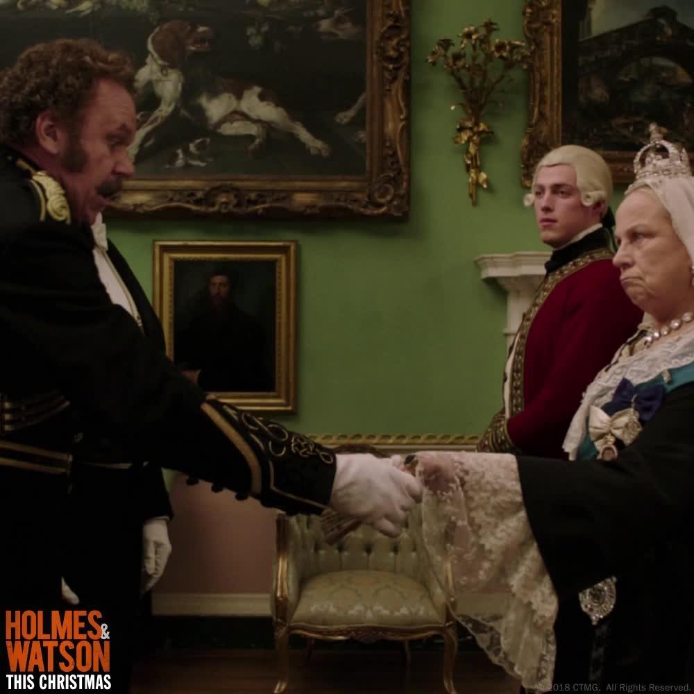 funny, holmes & watson, holmes and watson, john c reilly, john watson, queen, sherlock holmes, will ferrell, Meeting the Queen GIFs
