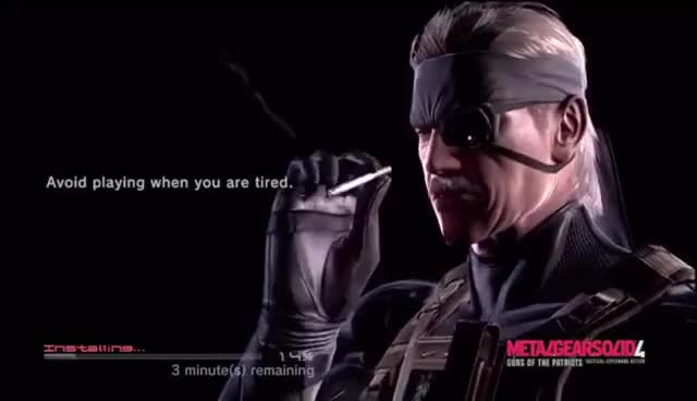 Watch and share Metal Gear Solid 4 - Old Snake Smoking GIFs on Gfycat
