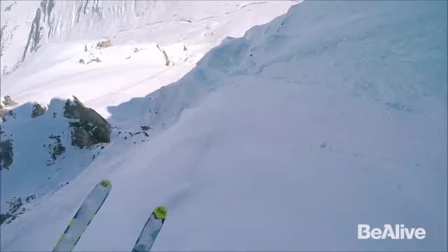Paraglider Skier Triggers Avalanche