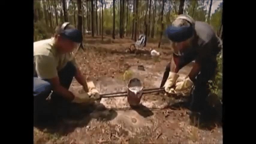 ScienceGIFs, educationalgifs, shittyaskscience, Pouring molten aluminum into an anthill GIFs