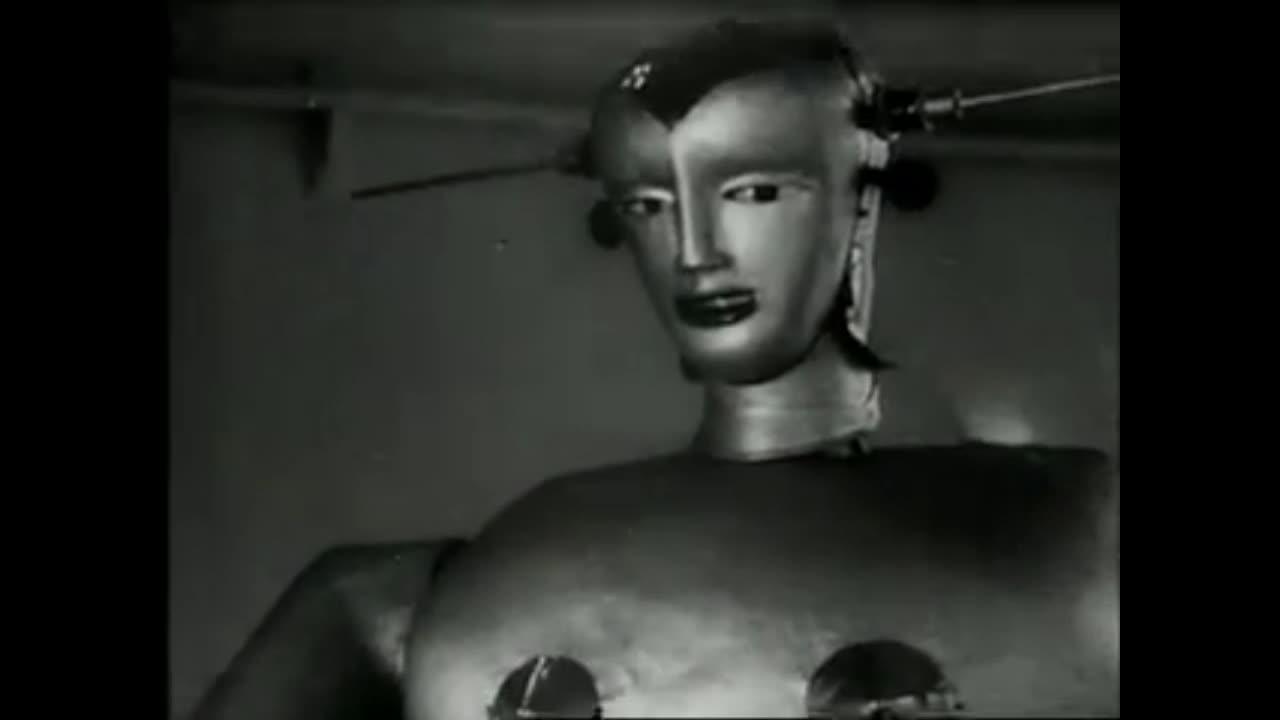 gifs, interestinggifs, Bizarre 1933 Smoking Robot From Switzerland GIFs