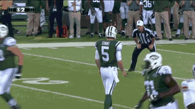 MadeMeSmile, mademesmile, Referee captures how we all feel about Matt Simms salsa dancing [NFL] (reddit) GIFs