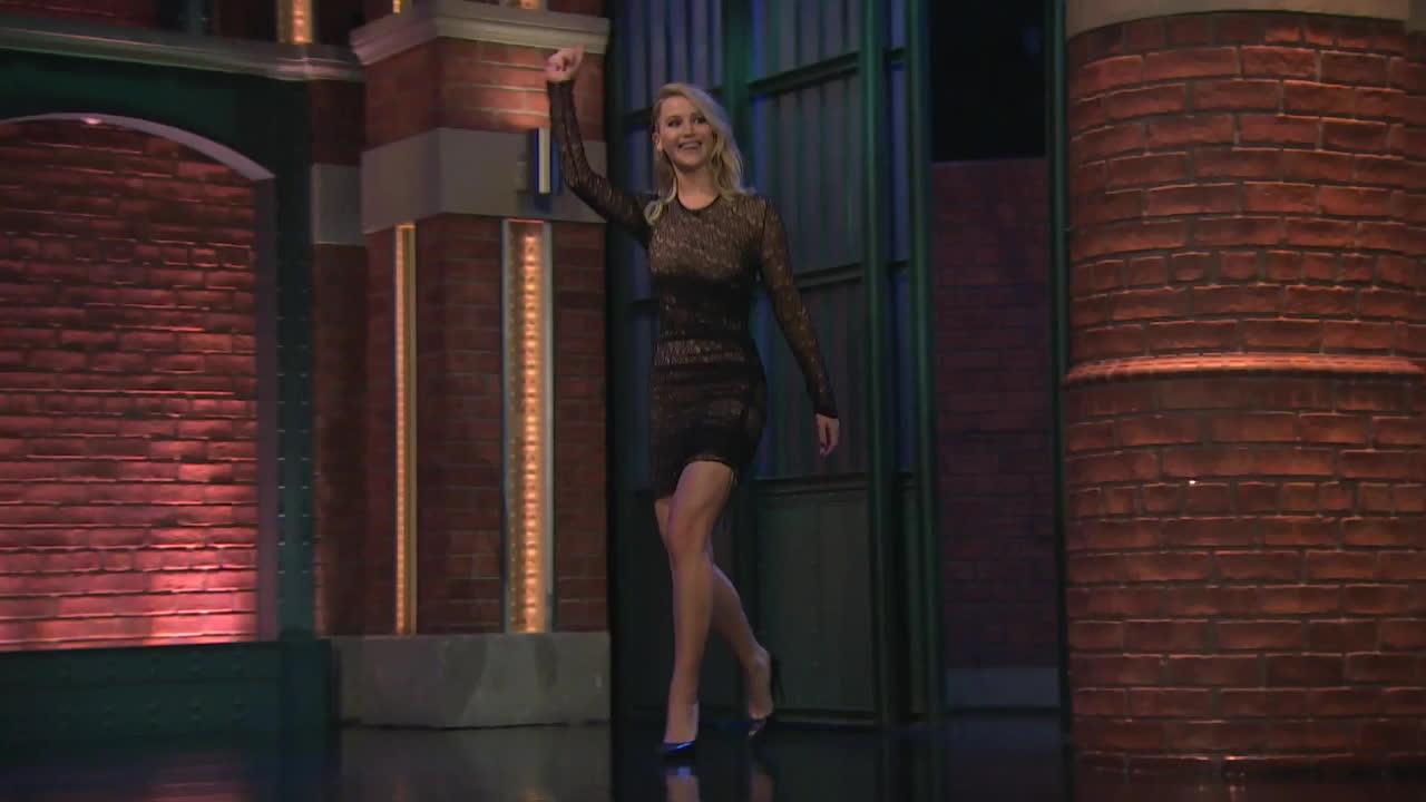 Celebs, Jennifer Lawrence, Seth Meyers, celebgfys, funny, highqualitygifs, jenniferlawrence, lol, omg, prettygirls, wtf, Jennifer Lawrence GIFs