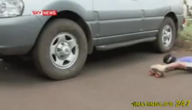 Watch silly man under cars GIF on Gfycat. Discover more funny, roller skate, silly GIFs on Gfycat
